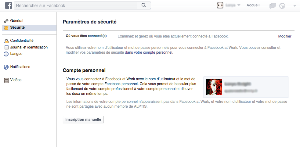 Lier Facebook at work à son compte perso