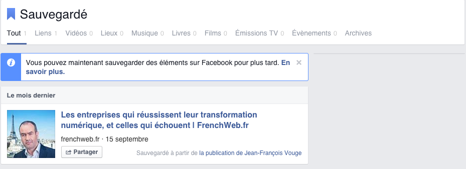 Sauvegarde de lien Facebook at Work
